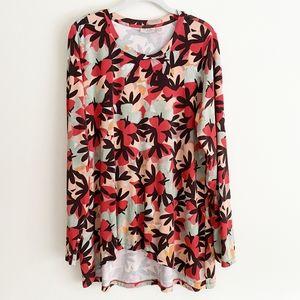 LOGO Lori Goldstein floral tunic large long sleeve
